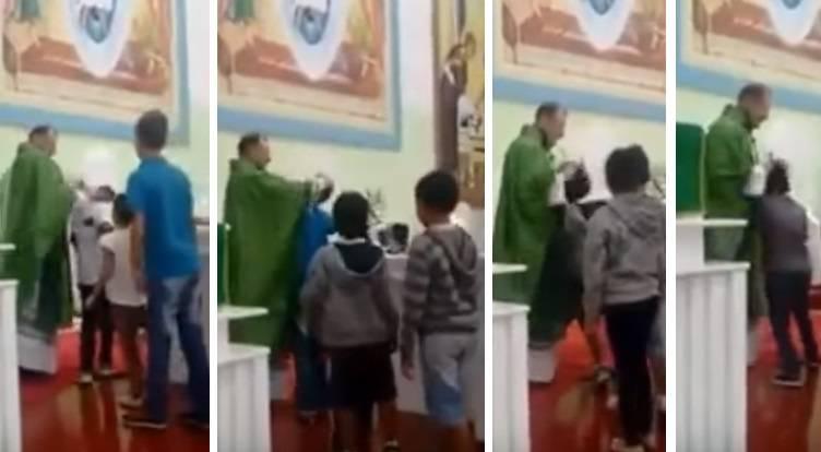 benedizione con schiaffi, il sacerdote vessa i bambini