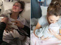 Kristy Watson abbraccia il suo bambino morto