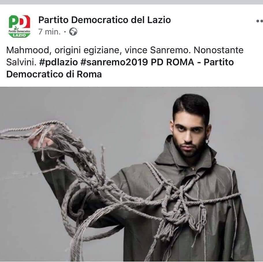 """Il PD: """"Mahmood, ha vinto contro Salvini"""" - Leggilo"""