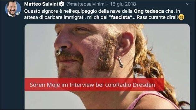 Matteo Salvini condannato da un tribunale di Francoforte Germania per una foto pubblicata su Twitter senza autorizzazione e scattata da Friedhold Ulonska a Sören Moje membro ong Mission Lifeline - Leggilo