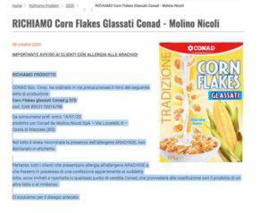 Conad: richiamato prodotto a largo consumo per presenza allergeni