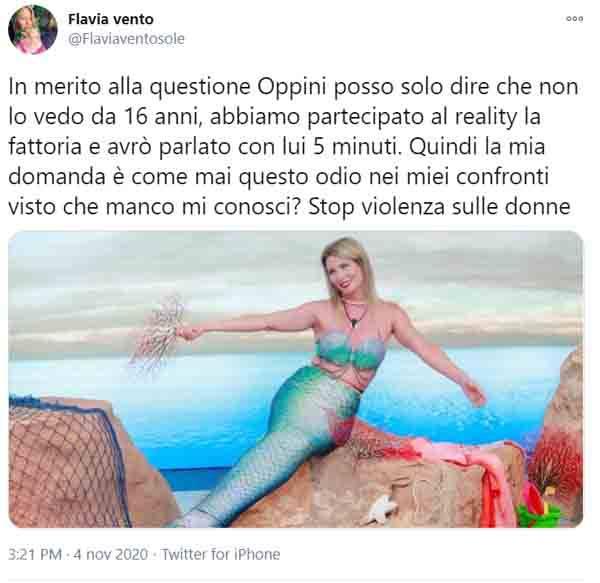 Il tweet di Flavia Vento in risposta alle parole di Orsini