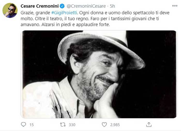 Cesare Cremonini ricorda Gigi Proietti con una bella foto