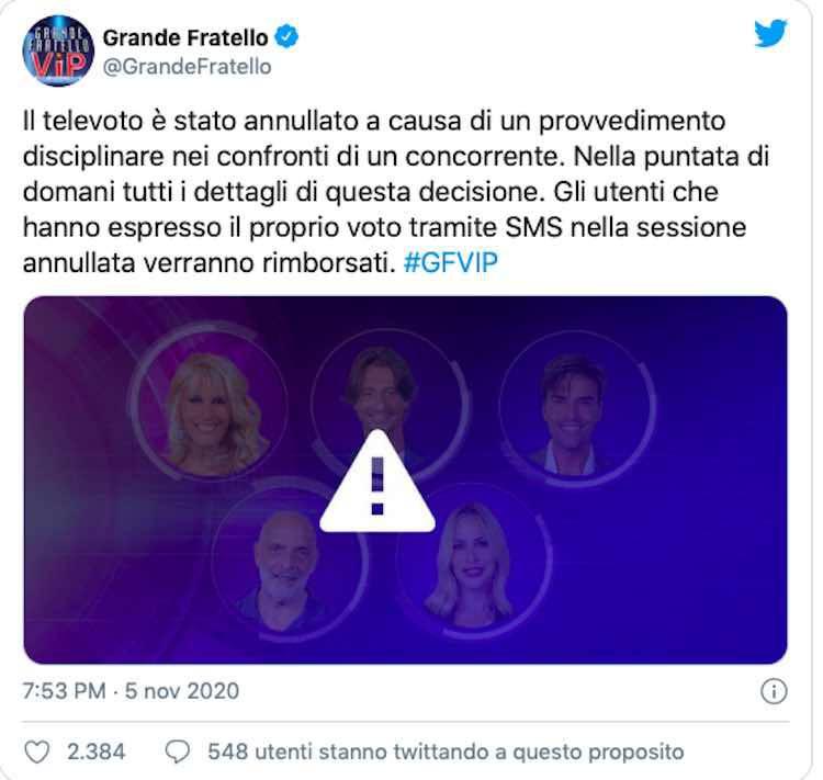 Post del provvedimento GF VIP