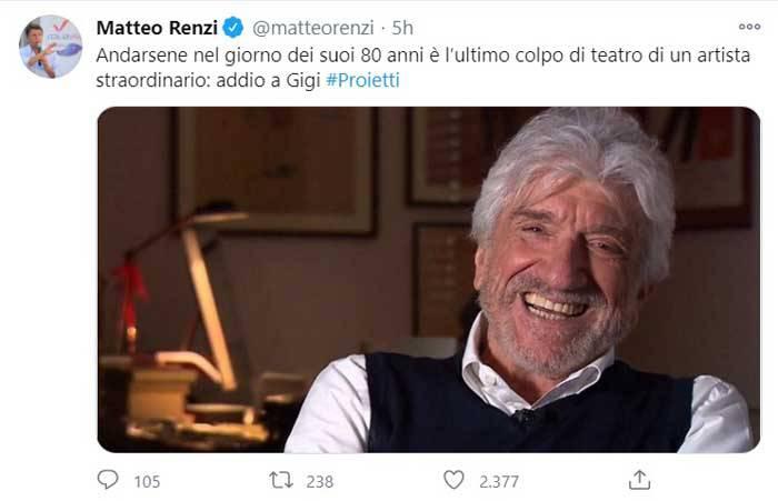 GLi omaggi di Renzi per la morte di Gigi Proietti