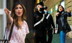 Belen Rodriguez polizia carabinieri paparazzata arrabbiata