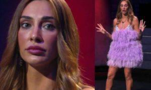 Sonia Lorenzini abito piume prezzo cifra shock