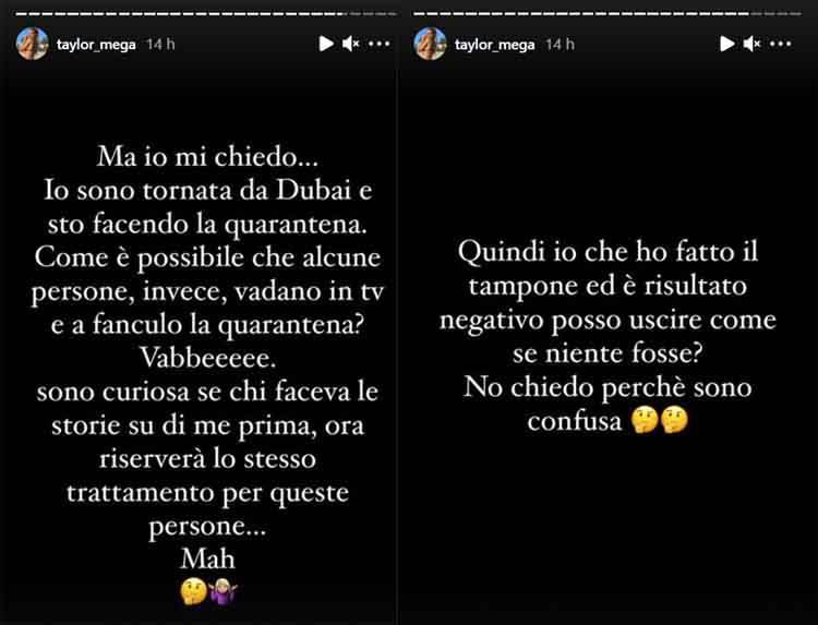 Taylor Mega accusa Elisabetta Gregoraci per la quarantena dopo Dubai
