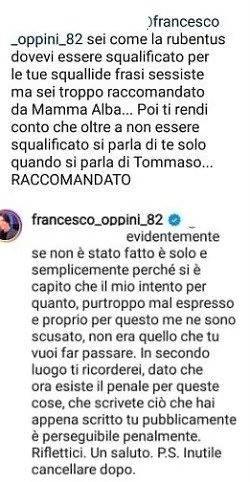 Francesco Oppini raccomandato risponde sui social