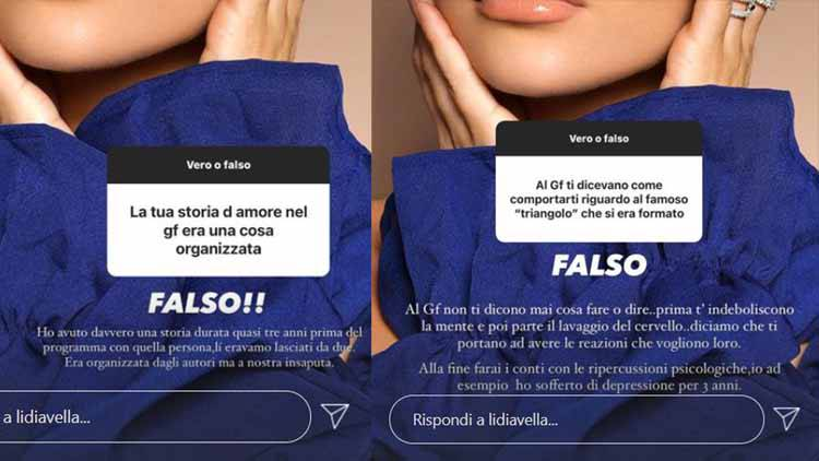 Lidia Vella lavaggio del cervello IG stories