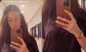 Belen Rodriguez incinta prova bracciale anti nausea