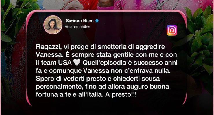 Commento Simone Biles su Vanessa Ferrari