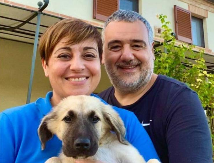 Benedetta Rossi insieme al marito e Cloud (Amoreaquattrozampe)