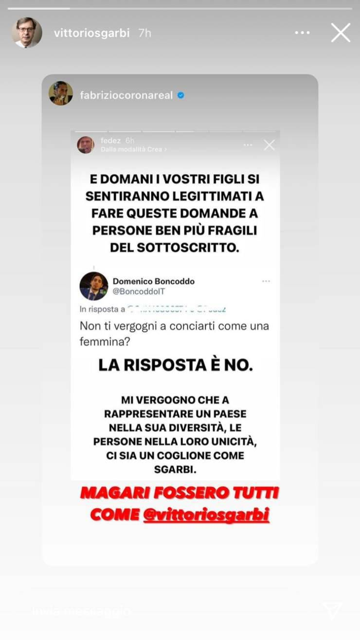 Fabrizio Corona sostiene Sgarbi
