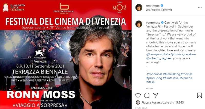 Ronn Moss mostra del cinema di venezia