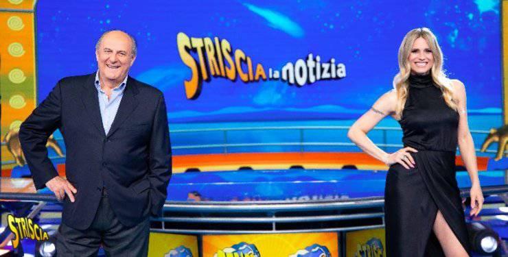 Gerry Scotti e Michelle Hunziker - conduttori di Striscia la Notizia