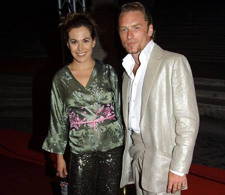 La conduttrice insieme all'ex marito Michele Canfora