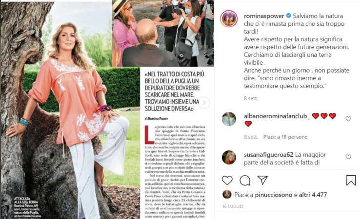 L'appello di Romina Power sul suo profilo Instagram (Instagram)